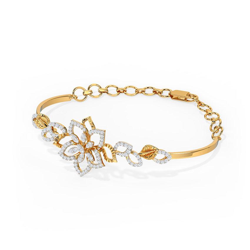 Diamond Bracelets 18 Karat Yellow Gold Dazzling Lily Diamond Bracelet