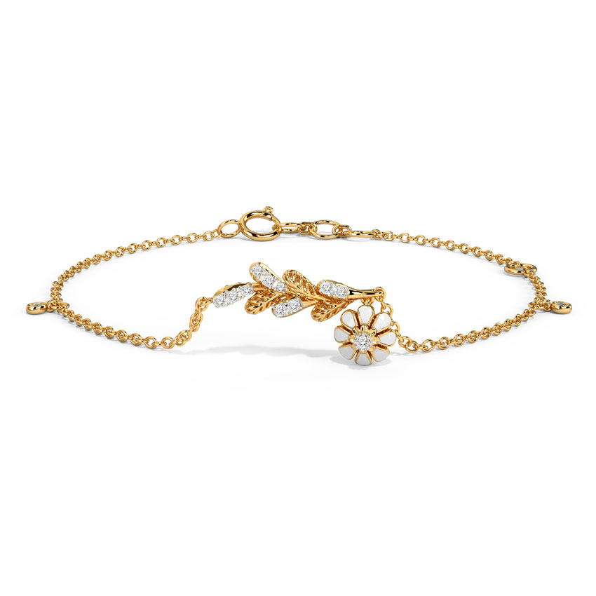 Diamond Bracelets 14 Karat Yellow Gold Victory Blossom Diamond Bracelet