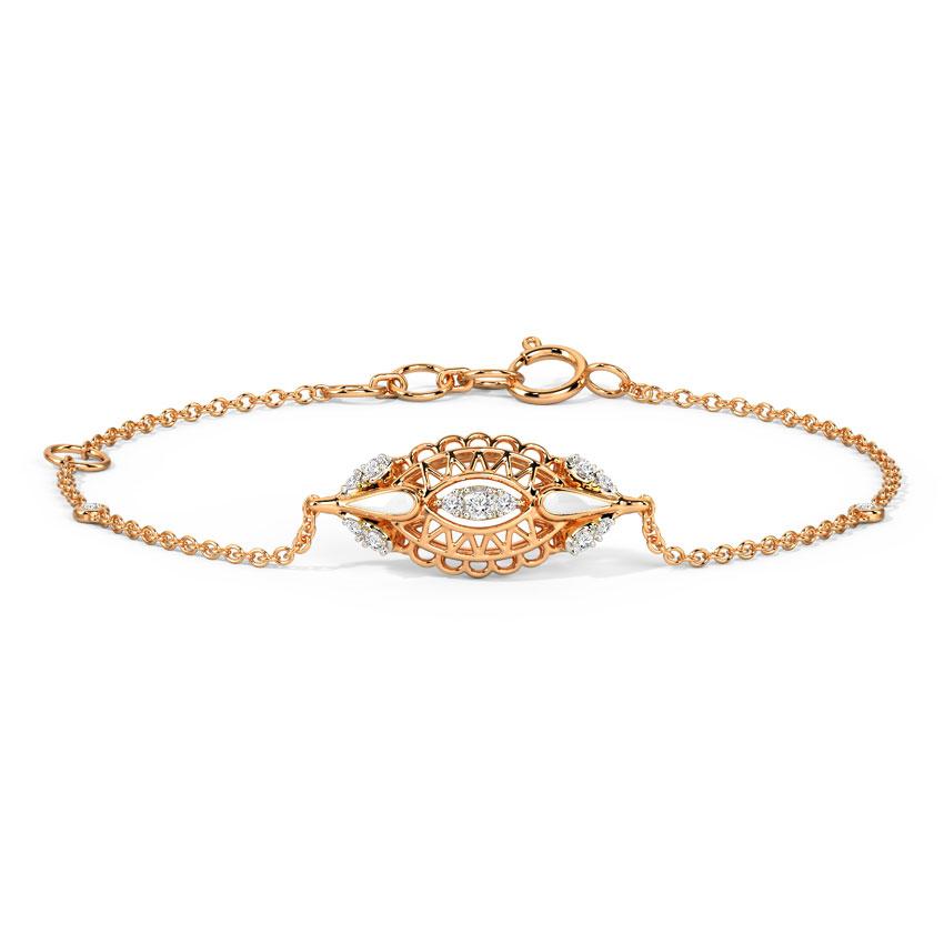 Diamond Bracelets 14 Karat Rose Gold Blush Ovate Diamond Bracelet