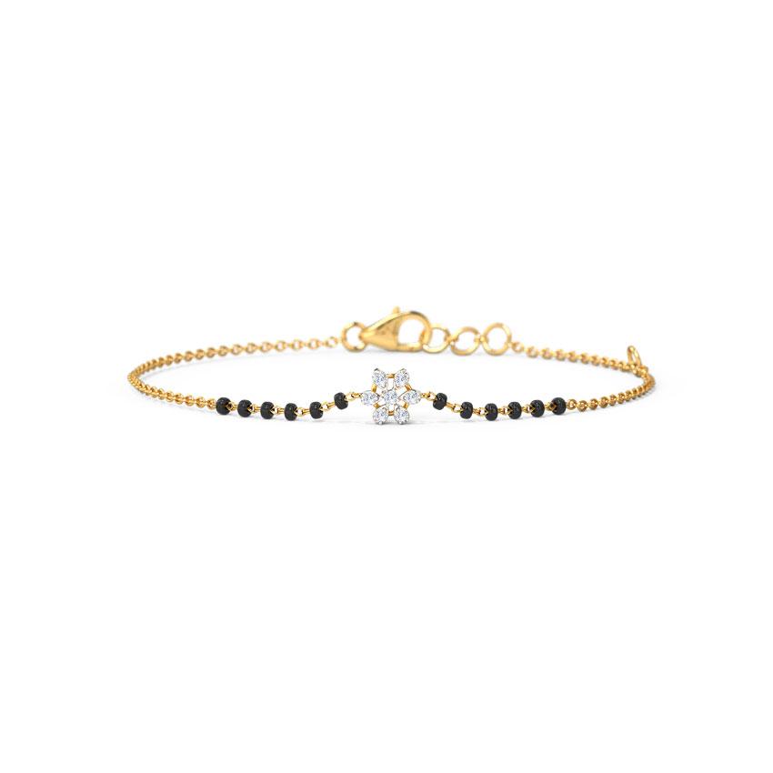Diamond Bracelets 14 Karat Yellow Gold Anira Mangalsutra Bracelet