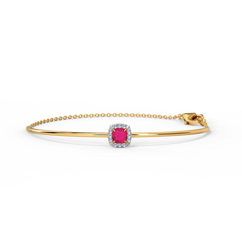 Diamond,Gemstone Bracelets 14 Karat Yellow Gold Glinting Quad Gemstone Bracelet