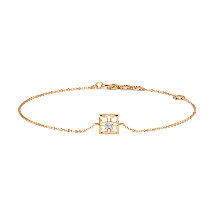 Diamond Bracelets 14 Karat Rose Gold Delicate Quad Diamond Bracelet
