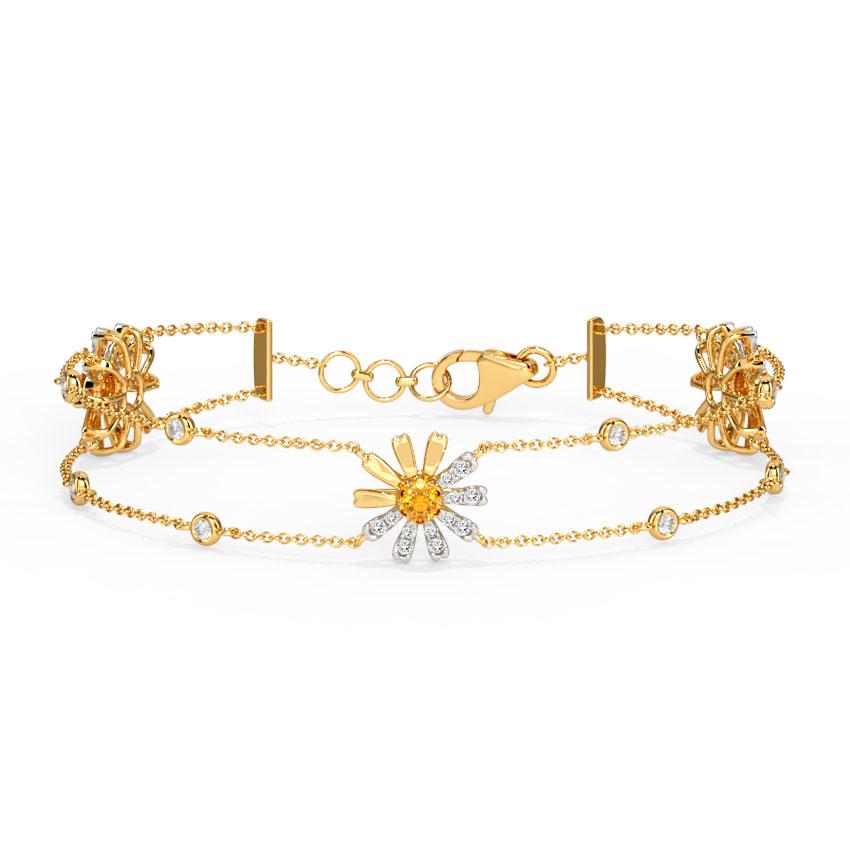 Diamond,Gemstone Bracelets 14 Karat Yellow Gold Happy Daisy Gemstone Bracelet