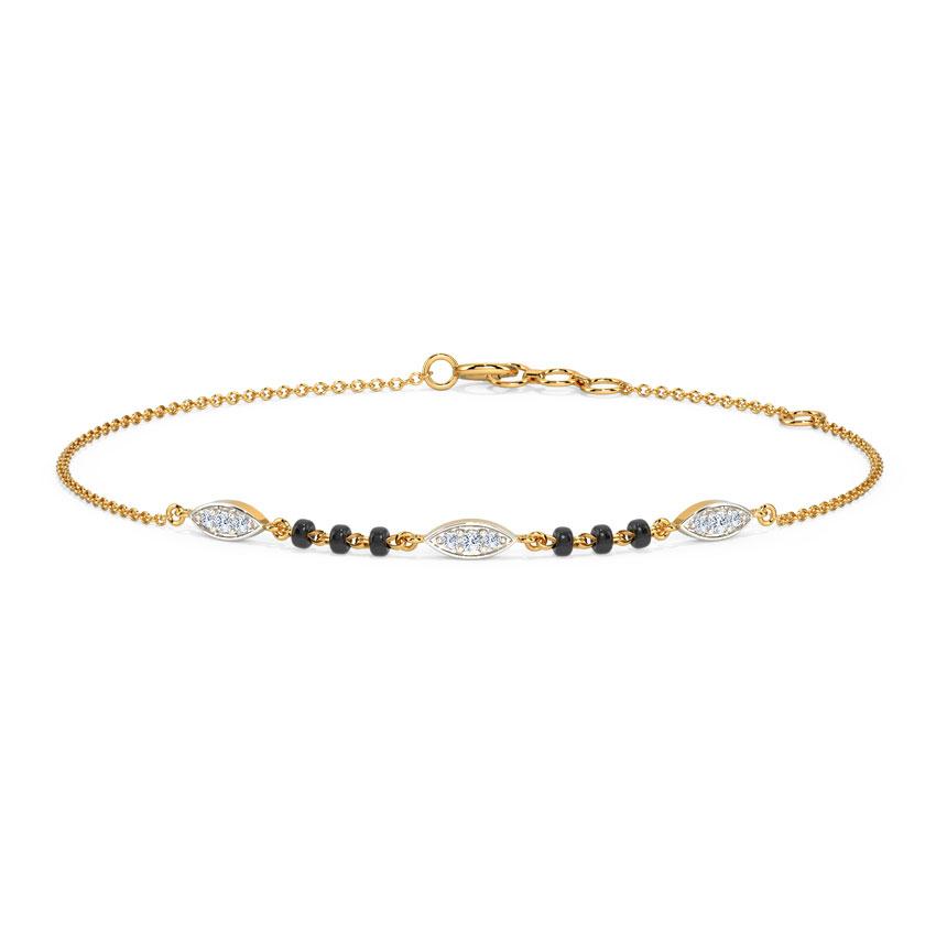 Diamond Bracelets 14 Karat Yellow Gold Stella Diamond Mangalsutra Bracelet