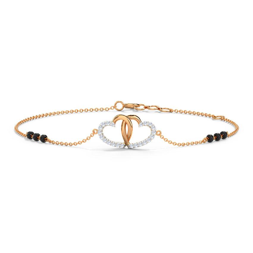 Diamond Bracelets 14 Karat Rose Gold Hazel Diamond Mangalsutra Bracelet
