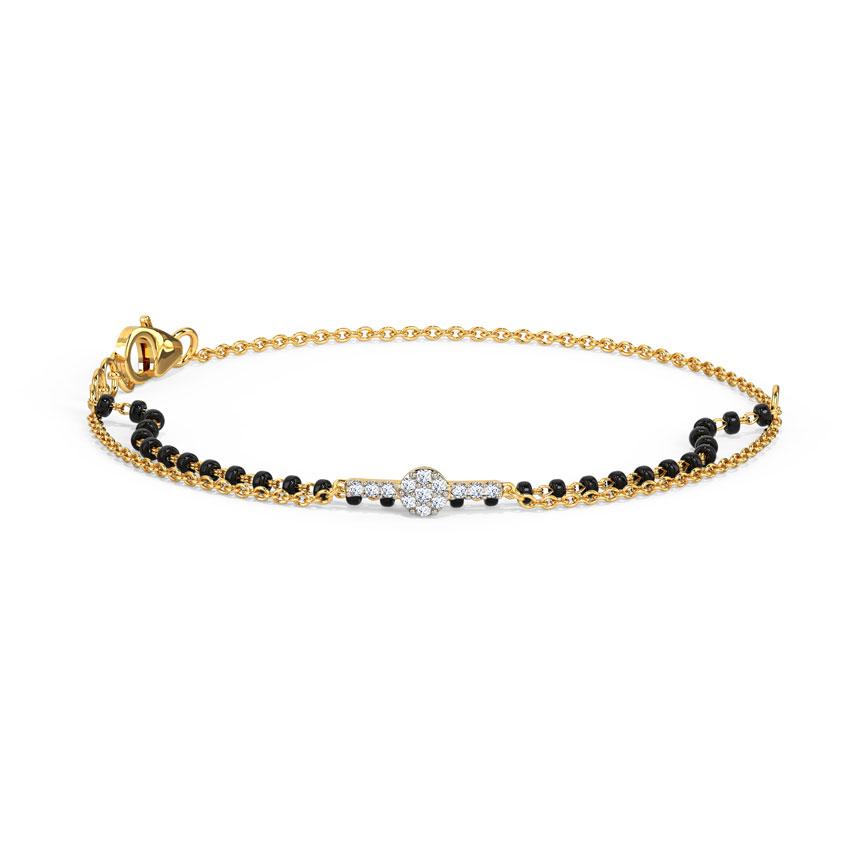 Diamond Bracelets 14 Karat Yellow Gold Mihika Diamond Mangalsutra Bracelet