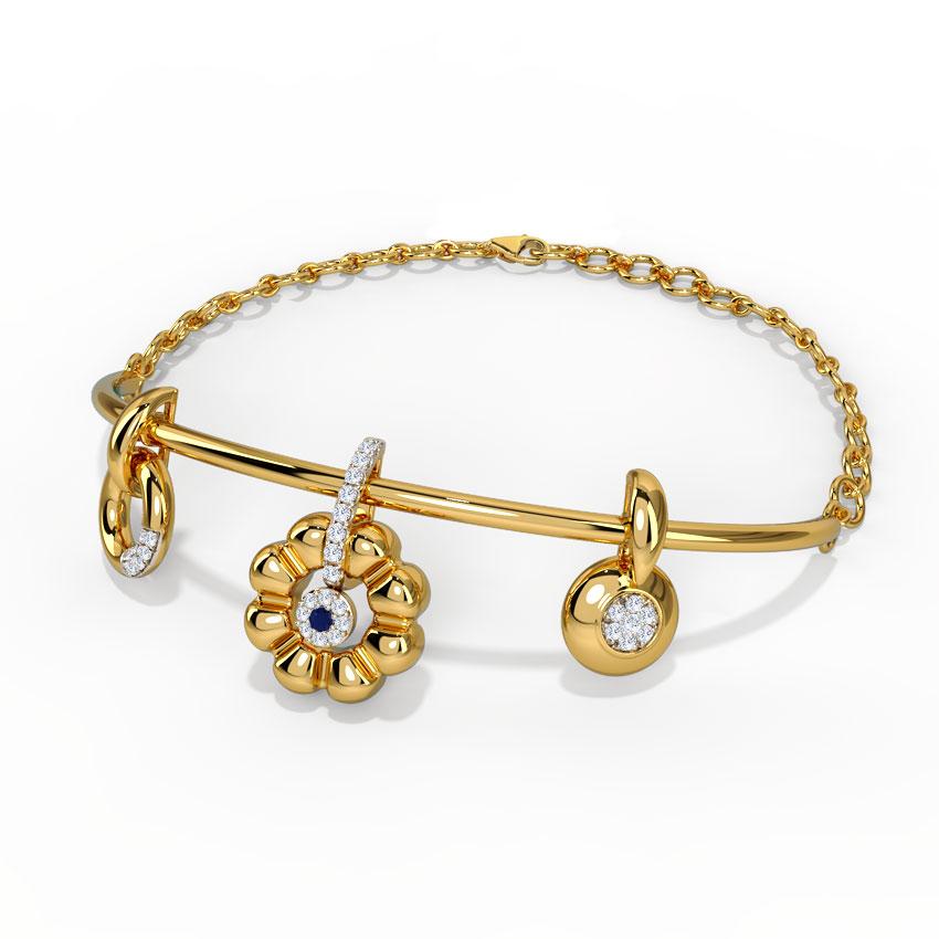 Diamond,Gemstone Bracelets 14 Karat Yellow Gold Twirling Beauty Gemstone Bracelet