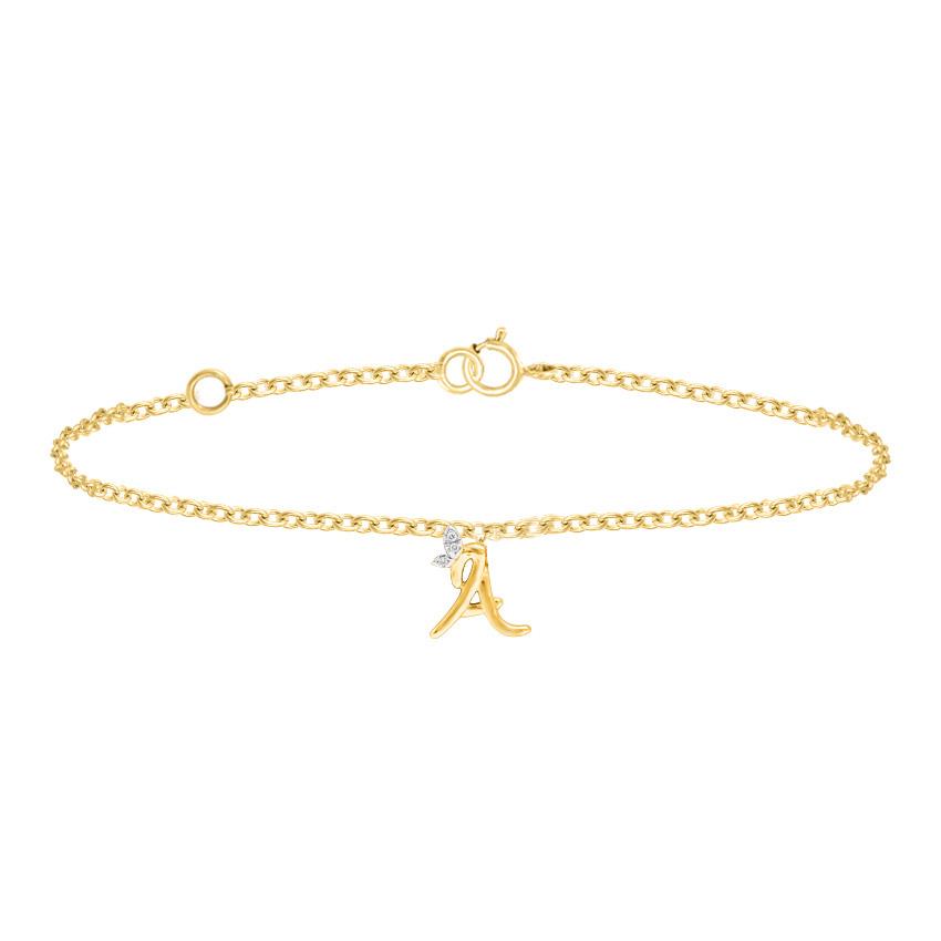 Diamond Bracelets 14 Karat Rose Gold Leafy Alphabet A Diamond Bracelet
