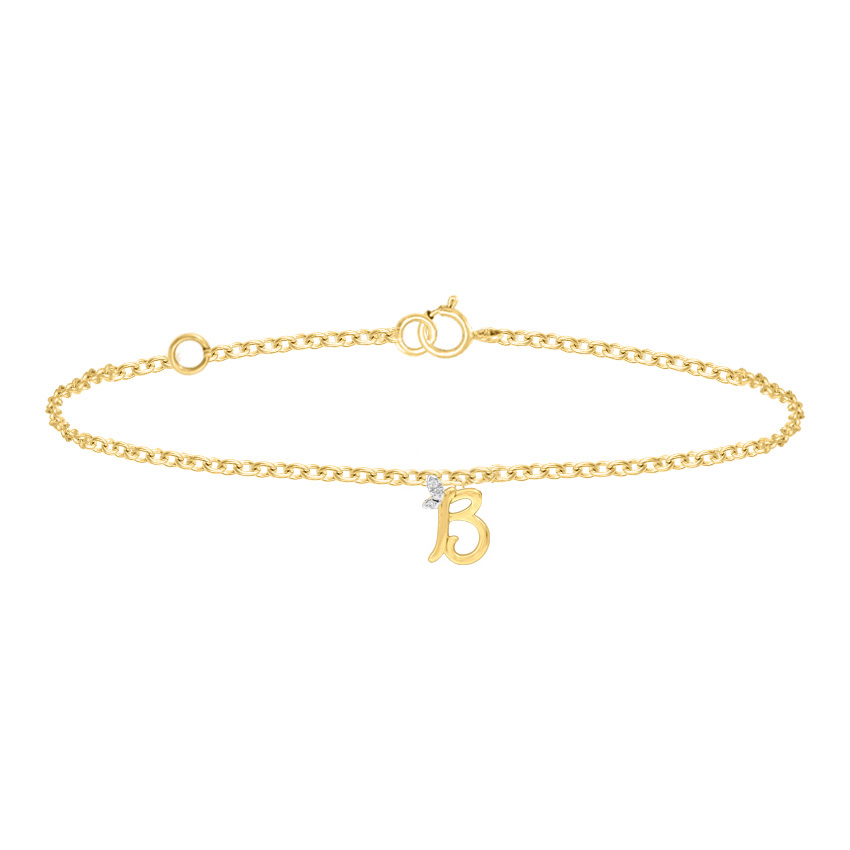 Diamond Bracelets 14 Karat Yellow Gold Leafy Alphabet B Diamond Bracelet