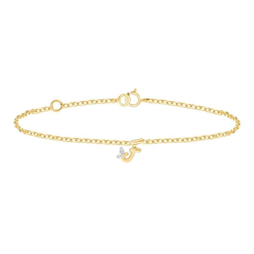Diamond Bracelets 14 Karat Yellow Gold Leafy Alphabet F Diamond Bracelet