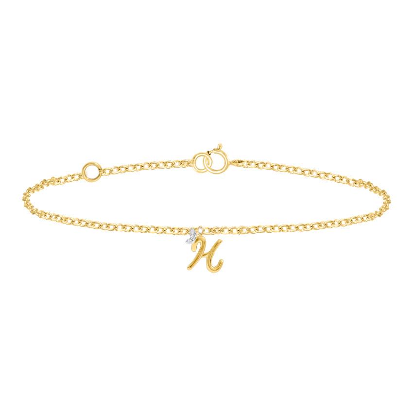 Diamond Bracelets 14 Karat Yellow Gold Leafy Alphabet H Diamond Bracelet