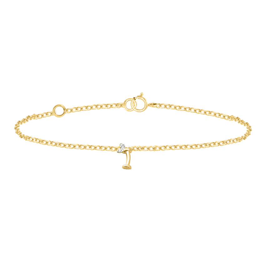 Diamond Bracelets 14 Karat Yellow Gold Leafy Alphabet I Diamond Bracelet