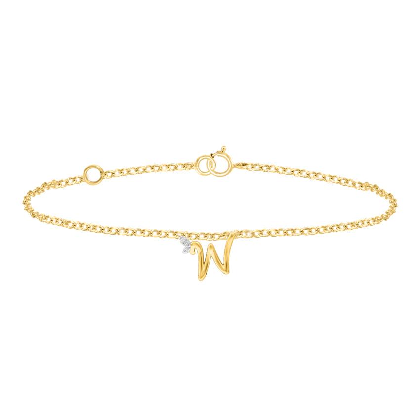 Diamond Bracelets 14 Karat Rose Gold Leafy Alphabet W Diamond Bracelet