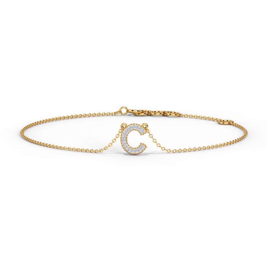 Diamond Bracelets 14 Karat Rose Gold Dazzle Alphabet C Bracelet
