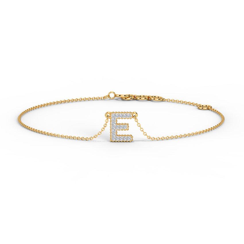 Diamond Bracelets 14 Karat Yellow Gold Dazzle Alphabet E Diamond Bracelet