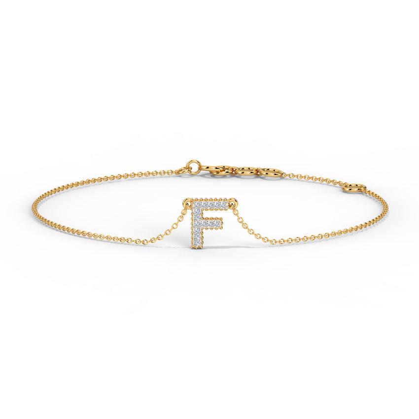 Diamond Bracelets 14 Karat Rose Gold Dazzle Alphabet F Bracelet