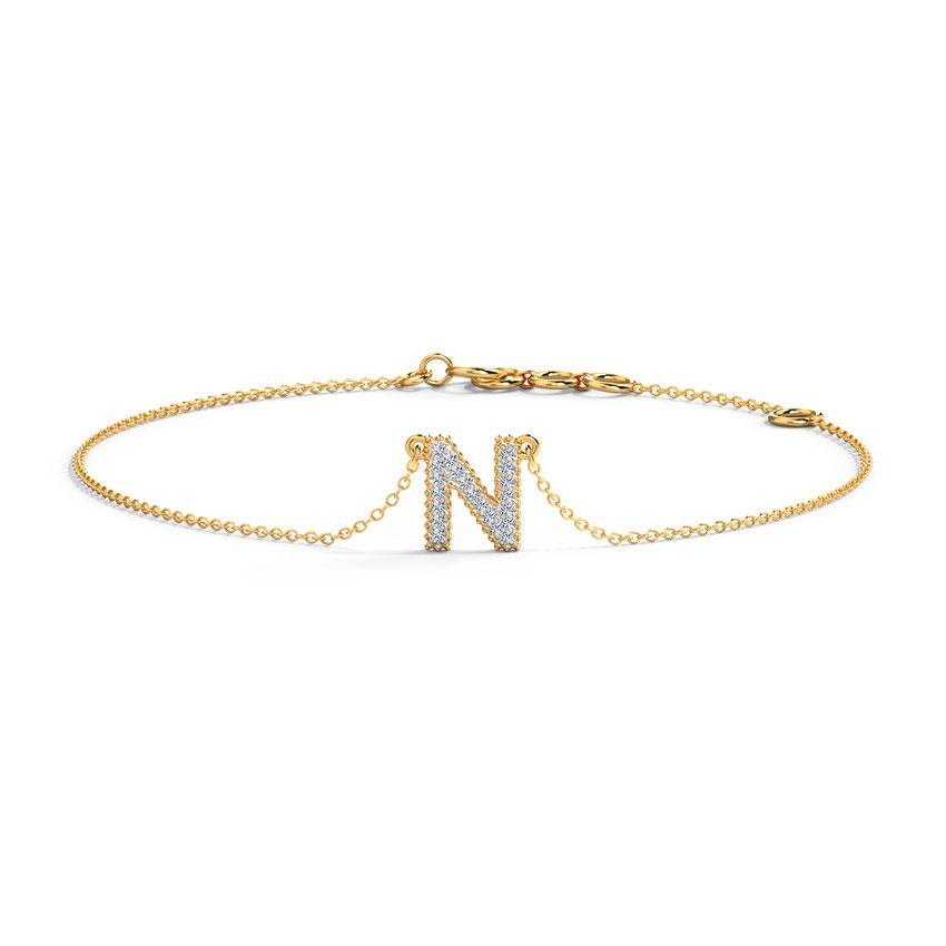 Diamond Bracelets 14 Karat Rose Gold Dazzle Alphabet N Diamond Bracelet