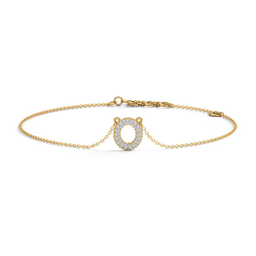 Diamond Bracelets 14 Karat Yellow Gold Dazzle Alphabet O Diamond Bracelet