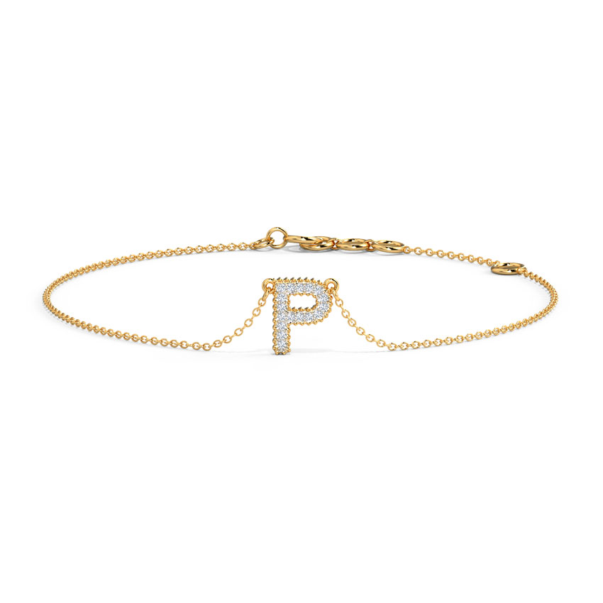Diamond Bracelets 14 Karat Yellow Gold Dazzle Alphabet P Diamond Bracelet