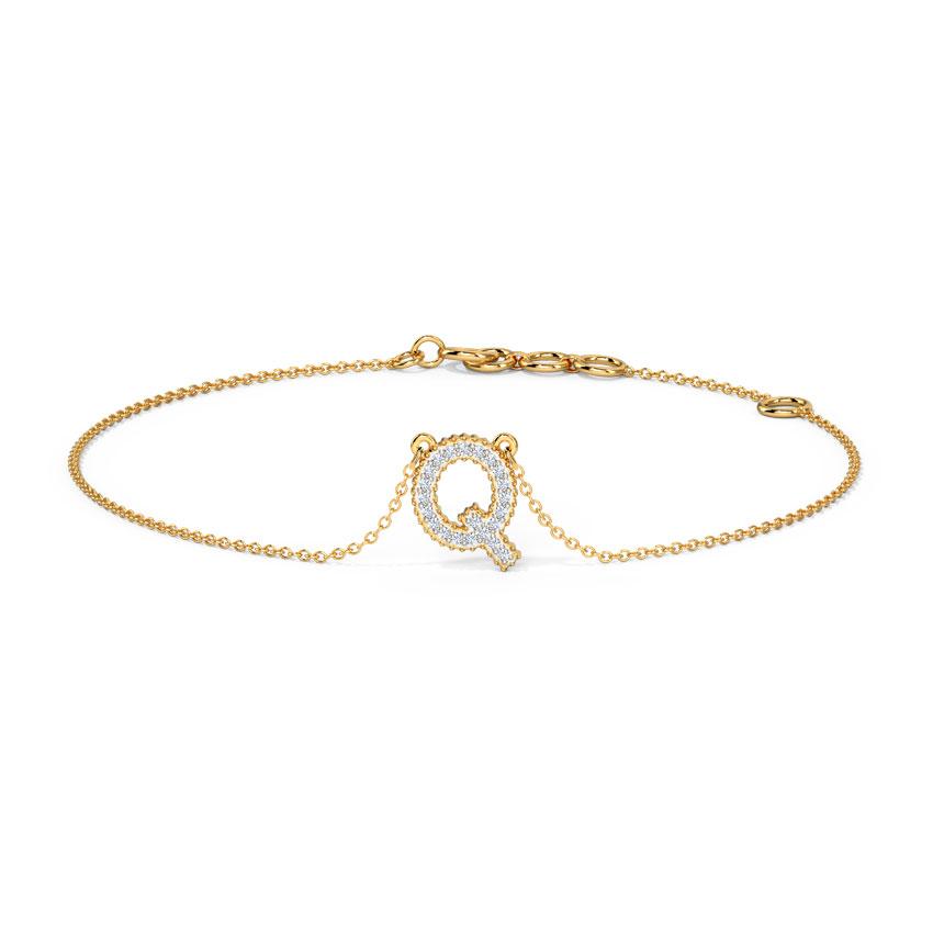 Diamond Bracelets 14 Karat Yellow Gold Dazzle Alphabet Q Diamond Bracelet
