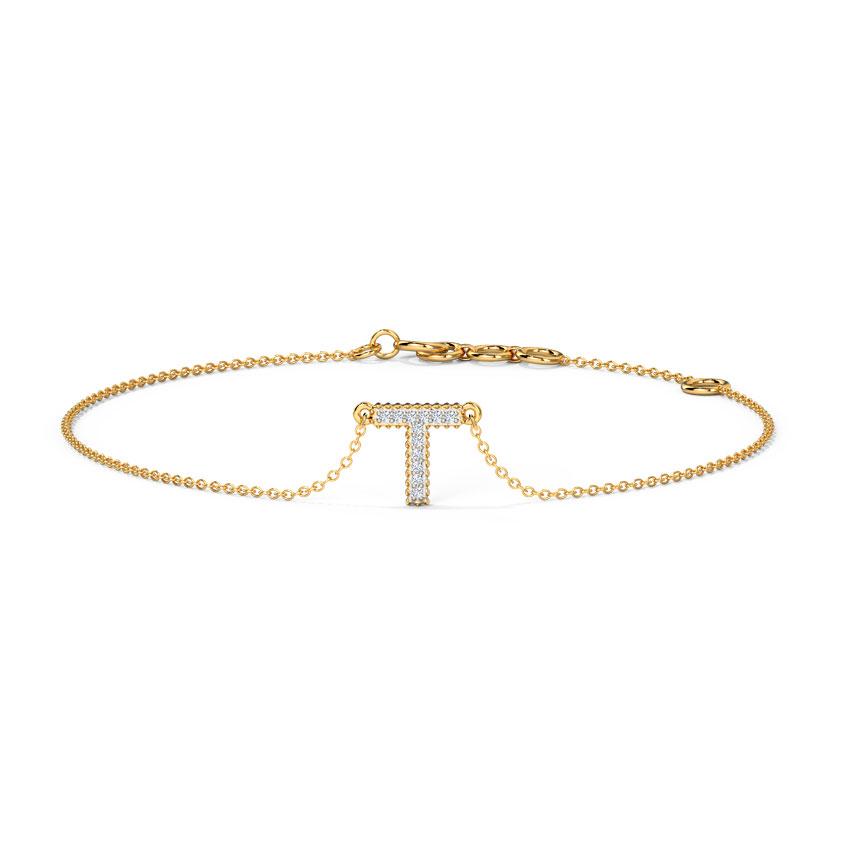 Dazzle Alphabet T Bracelet