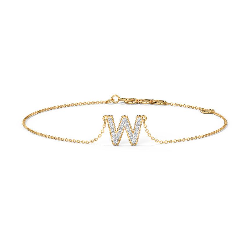 Dazzle Alphabet W Bracelet