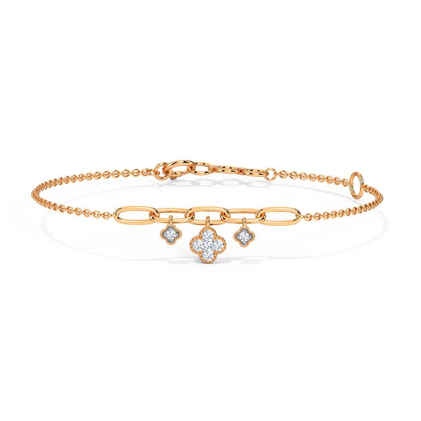Diamond Bracelets 14 Karat Rose Gold Clover Floral Diamond Bracelet