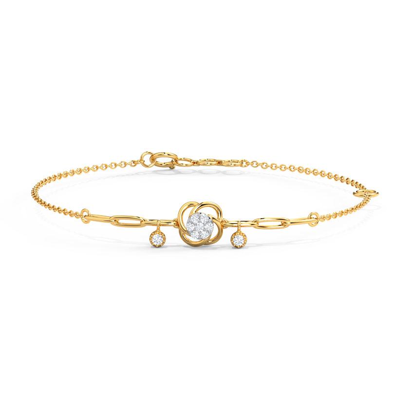 Diamond Bracelets 14 Karat Yellow Gold Spiral Spring Bracelet