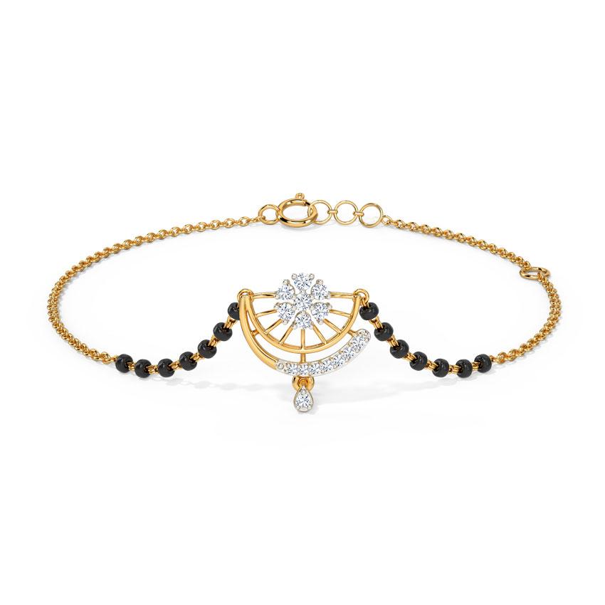 Diamond Bracelets 14 Karat Yellow Gold Arunima Diamond Mangalsutra Bracelet