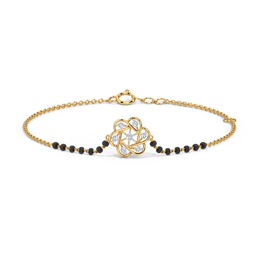 Diamond Bracelets 14 Karat Yellow Gold Bhavini Diamond Mangalsutra Bracelet