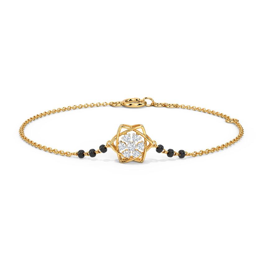 Diamond Bracelets 14 Karat Yellow Gold Hemani Diamond Mangalsutra Bracelet