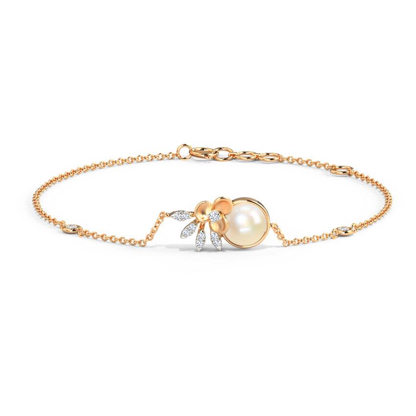 Diamond,Gemstone Bracelets 14 Karat Rose Gold Gardenia Pearl Gemstone Bracelet