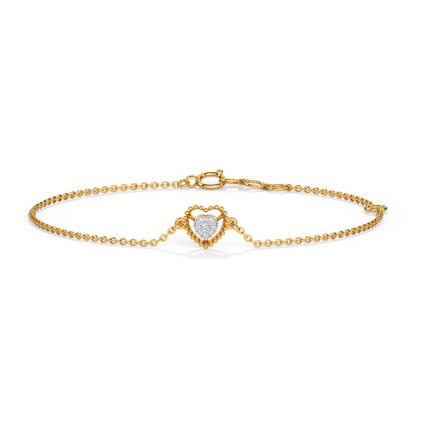 Diamond Bracelets 14 Karat Yellow Gold Classic Shining Heart Diamond Bracelet