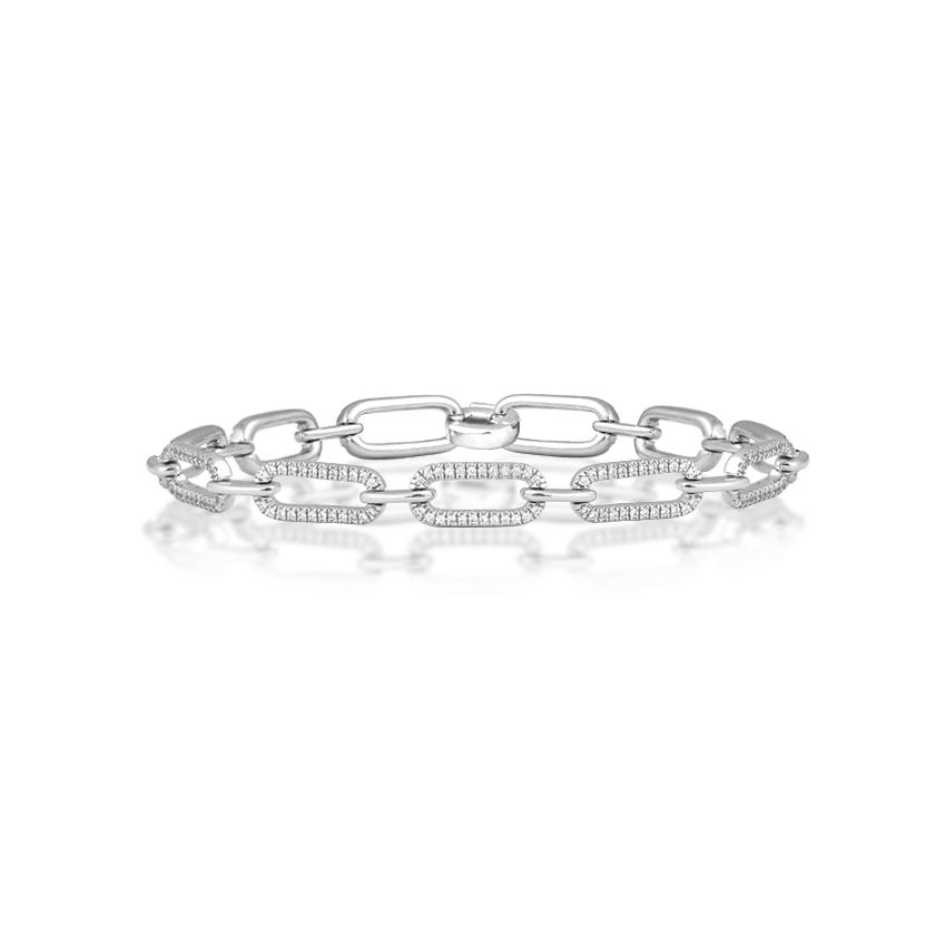 Diamond Bracelets 14 Karat White Gold Gallant Linking Diamond Bracelet