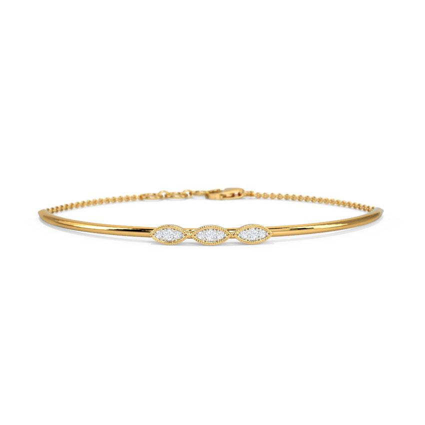 Diamond Bracelets 14 Karat Yellow Gold Hilonee Diamond Loha Bracelet