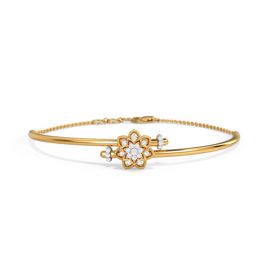 Diamond Bracelets 14 Karat Yellow Gold Adela Bloom Loha Diamond Bracelet