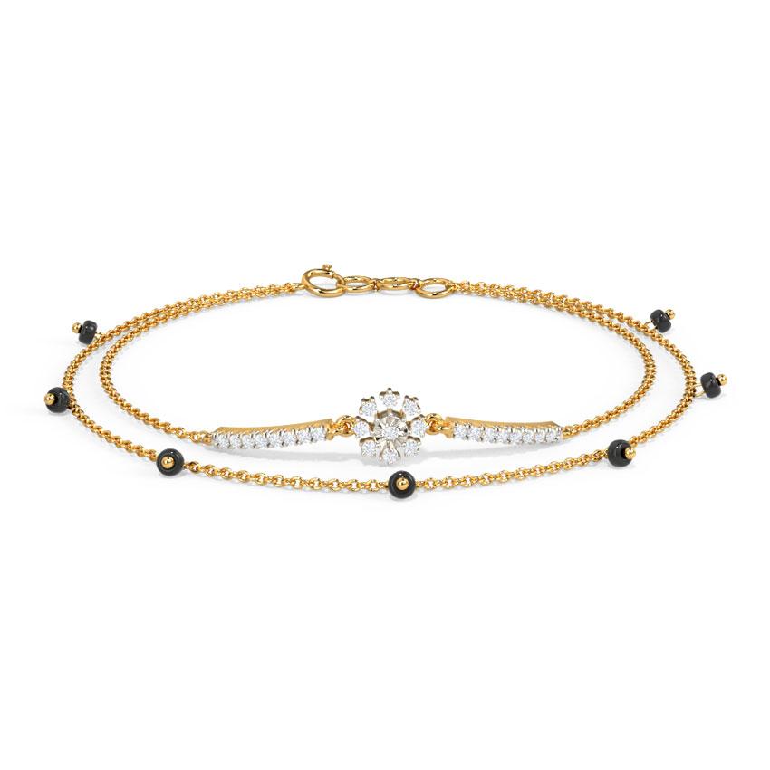 Diamond Bracelets 14 Karat Yellow Gold Maanvi Diamond Mangalsutra Bracelet