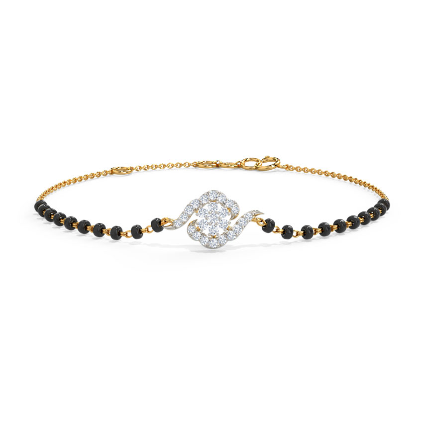 Diamond Bracelets 14 Karat Yellow Gold Amyra Diamond Mangalsutra Bracelet