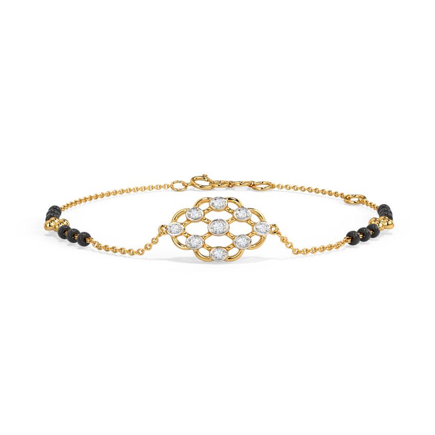 Diamond Bracelets 14 Karat Yellow Gold Amodini Diamond Mangalsutra Bracelet