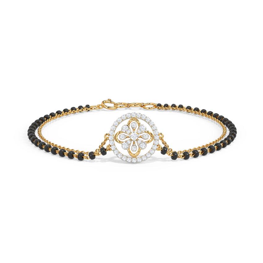 Diamond Bracelets 14 Karat Yellow Gold Nila Diamond Mangalsutra Bracelet