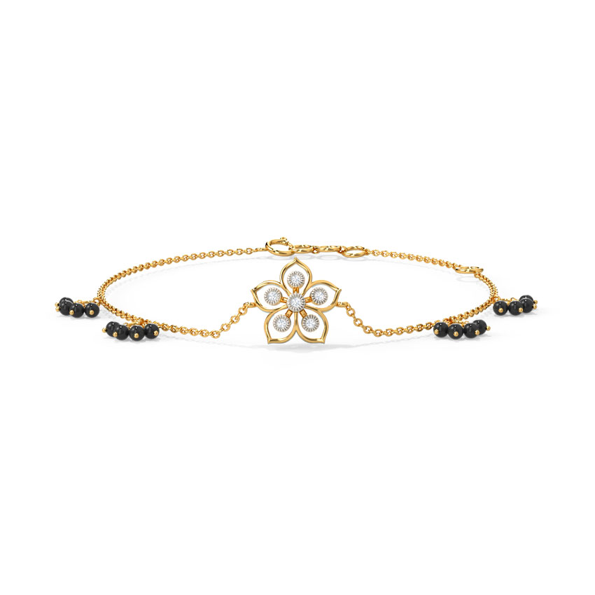 Diamond Bracelets 14 Karat Yellow Gold Lilia Diamond Mangalsutra Bracelet