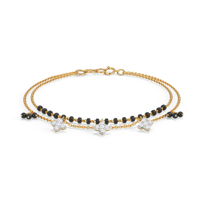 Diamond Bracelets 14 Karat Yellow Gold Asika Diamond Mangalsutra Bracelet