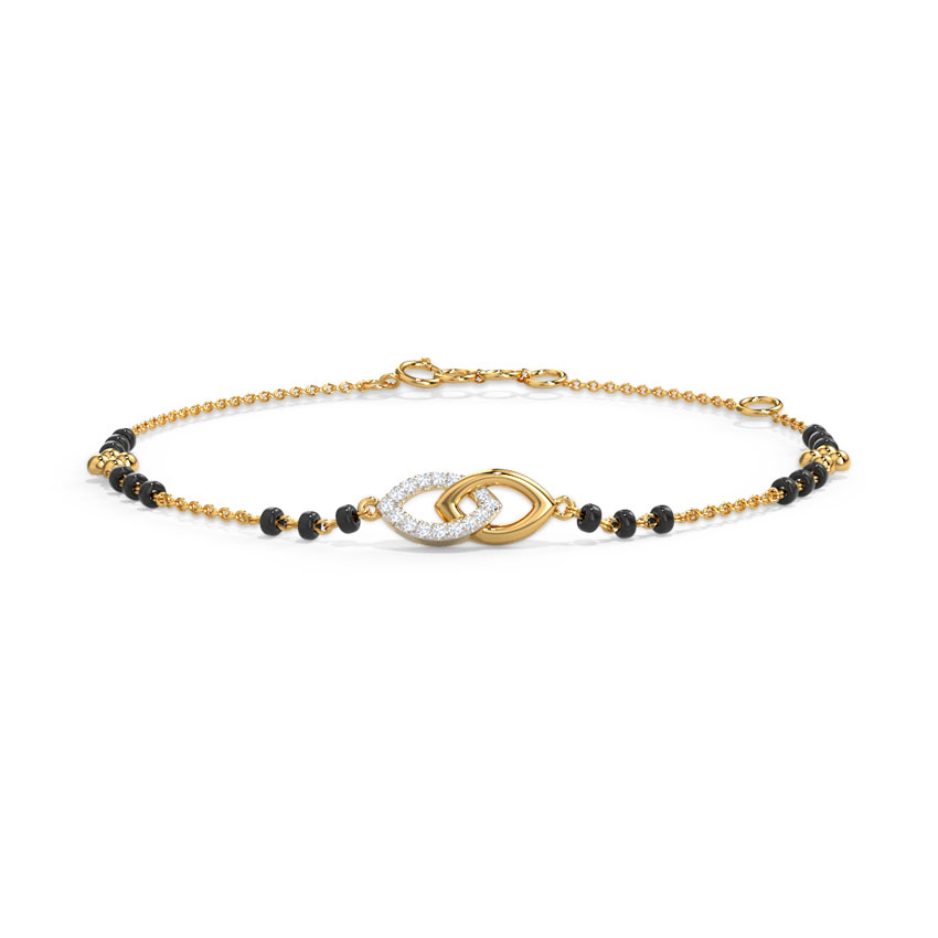Diamond Bracelets 14 Karat Yellow Gold Amoli Diamond Mangalsutra Bracelet