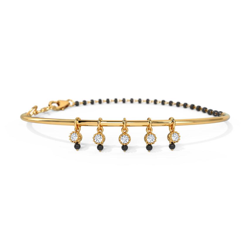 Diamond Bracelets 14 Karat Yellow Gold Saira Diamond Mangalsutra Bracelet
