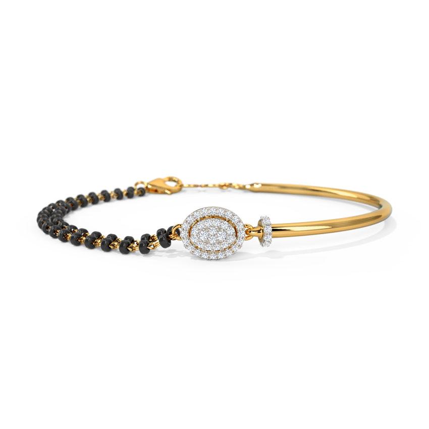 Diamond Bracelets 14 Karat Yellow Gold Sanika Diamond Mangalsutra Bracelet
