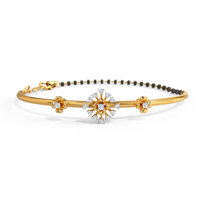 Diamond Bracelets 14 Karat Yellow Gold Svasti Diamond Mangalsutra Bracelet