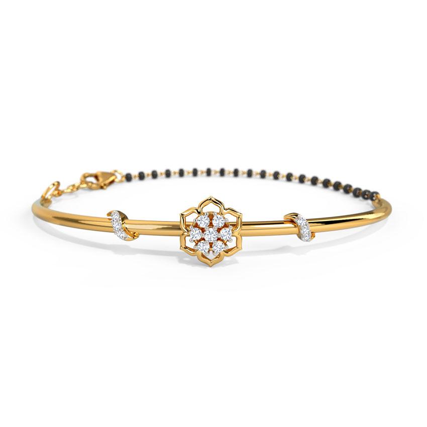 Diamond Bracelets 14 Karat Yellow Gold Hinaya Diamond Mangalsutra Bracelet