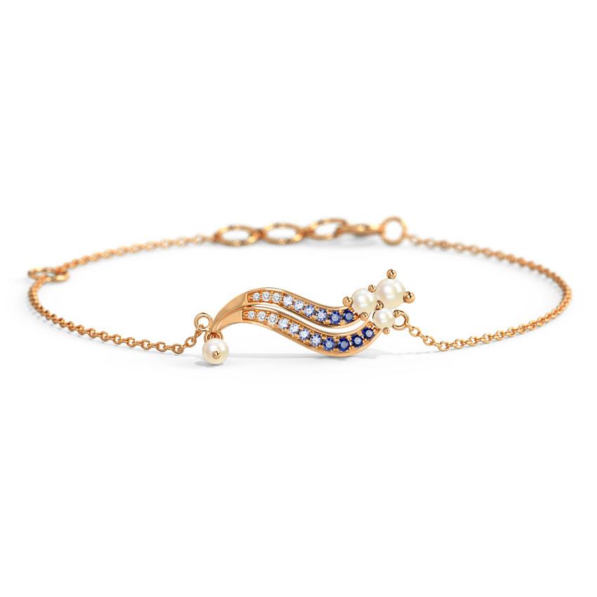 Diamond,Gemstone Bracelets 14 Karat Rose Gold Genova Wave Gemstone Bracelet