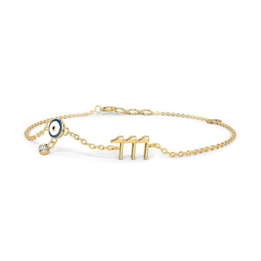 Diamond Bracelets 14 Karat Yellow Gold Desire Evil Eye Diamond Bracelet