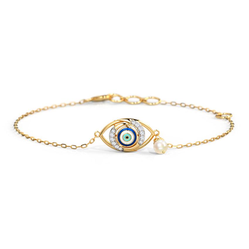 Diamond,Gemstone Bracelets 14 Karat Yellow Gold Modish Evil Eye Diamond Bracelet